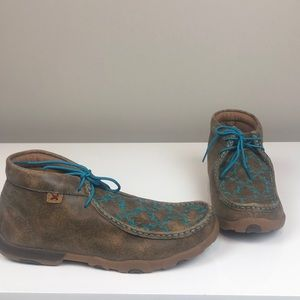 Twisted X Tan Leather Teal Lace & Pattern Boot